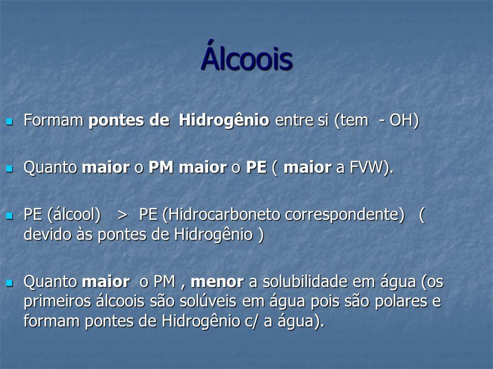 Álcoois Formam pontes de Hidrogênio entre si (tem - OH)