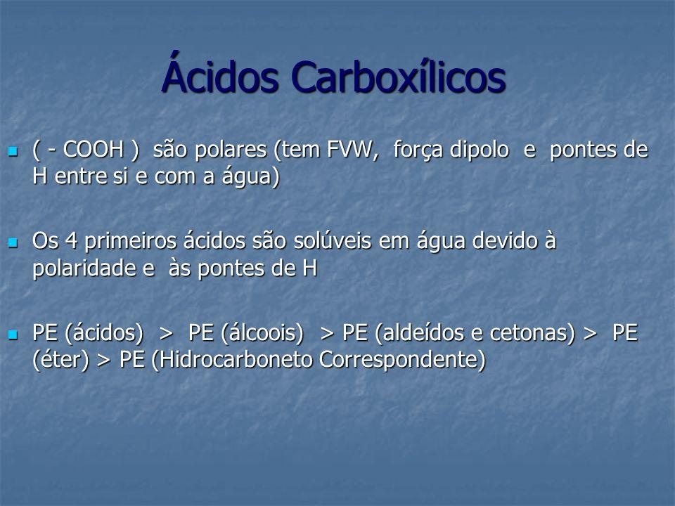 Ácidos Carboxílicos ( - COOH ) são polares (tem FVW, força dipolo e pontes de H entre si e com a água)