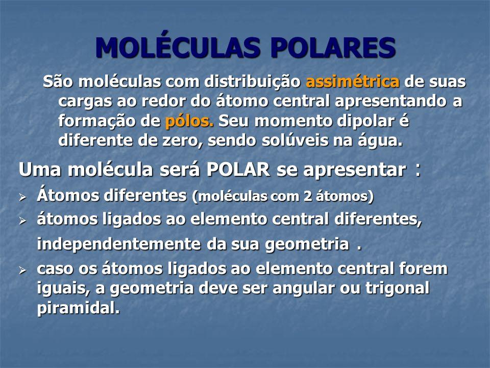MOLÉCULAS POLARES Uma molécula será POLAR se apresentar :