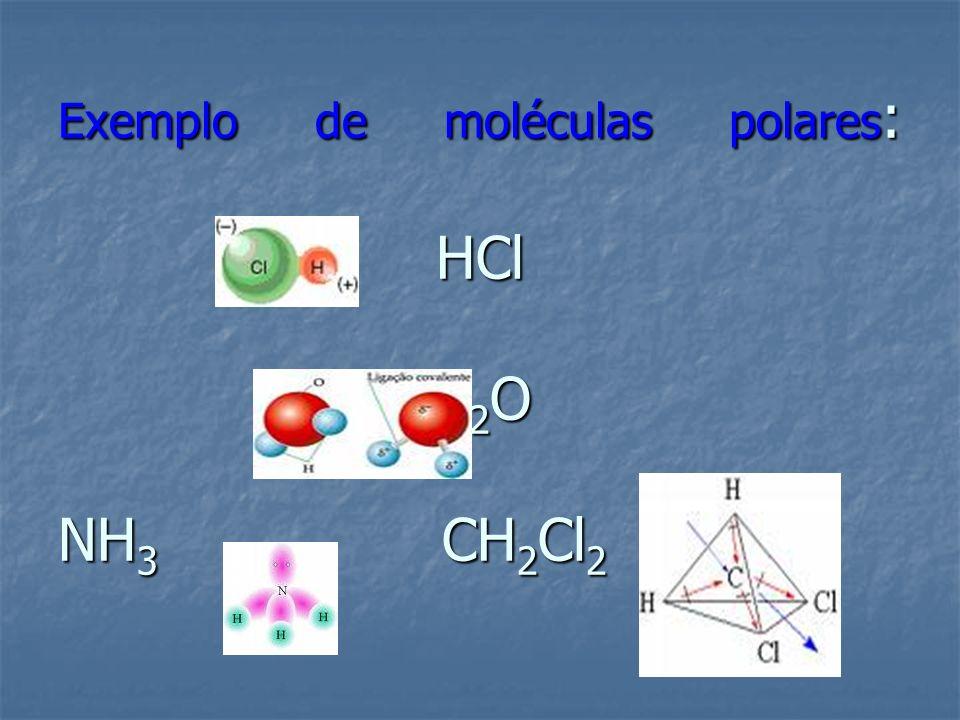 Exemplo de moléculas polares: HCl H2O NH3 CH2Cl2