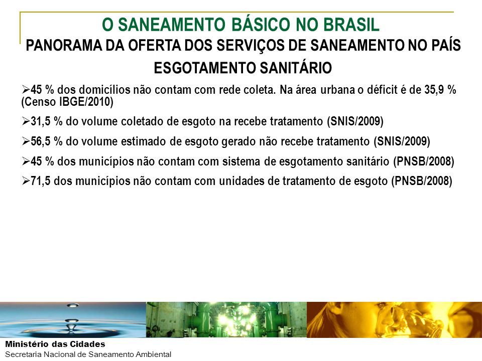 O SANEAMENTO BÁSICO NO BRASIL