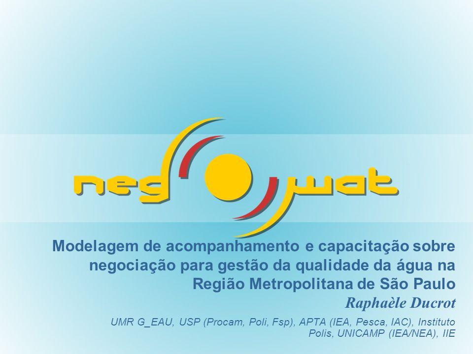 Modelagem de acompanhamento e capacitação sobre negociação para gestão da qualidade da água na Região Metropolitana de São Paulo Raphaèle Ducrot