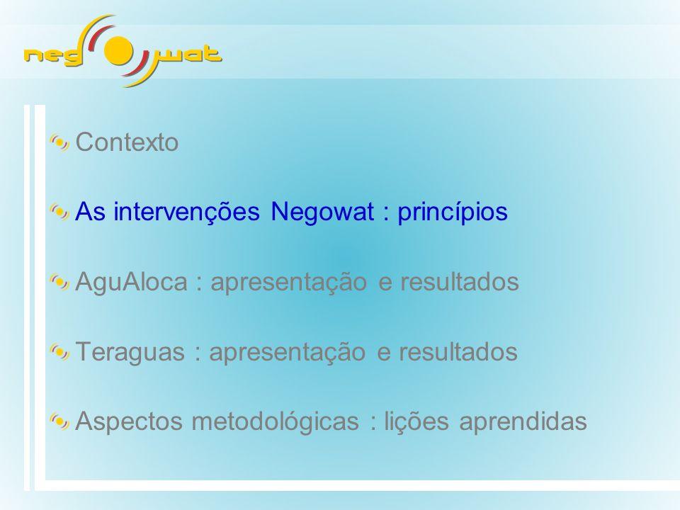 Contexto As intervenções Negowat : princípios. AguAloca : apresentação e resultados. Teraguas : apresentação e resultados.