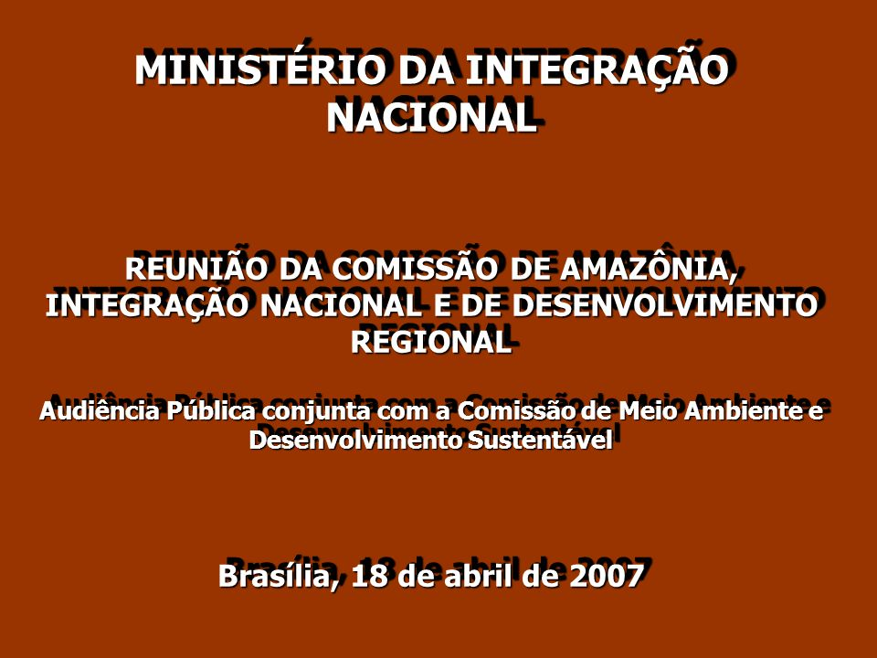 MINISTÉRIO DA INTEGRAÇÃO NACIONAL