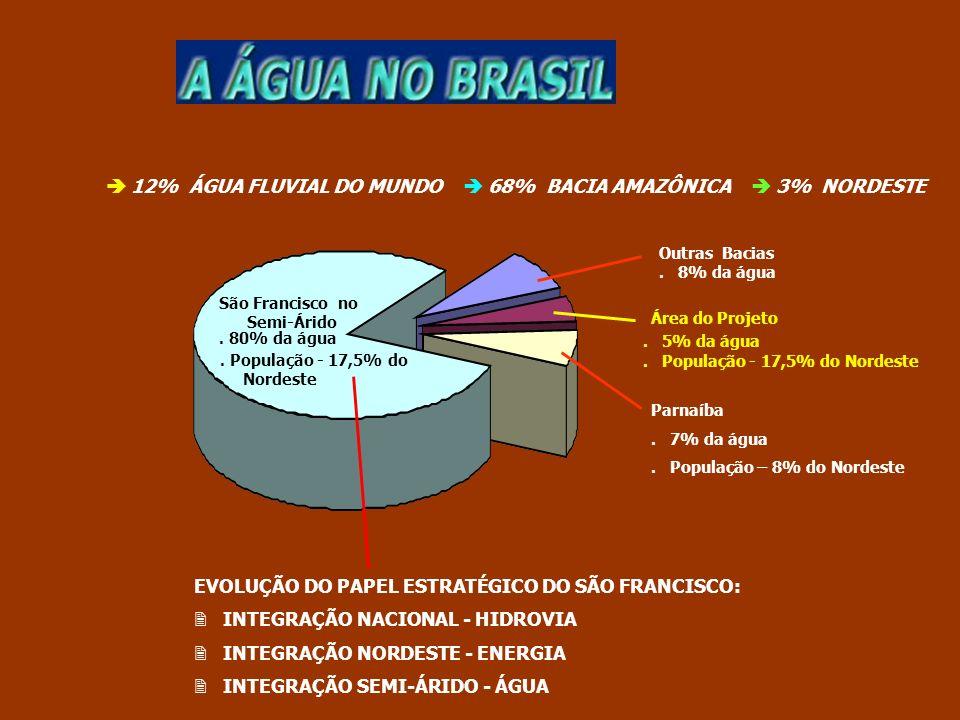  12% ÁGUA FLUVIAL DO MUNDO  68% BACIA AMAZÔNICA  3% NORDESTE