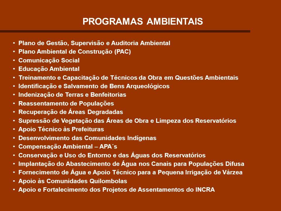 PROGRAMAS AMBIENTAIS Plano de Gestão, Supervisão e Auditoria Ambiental