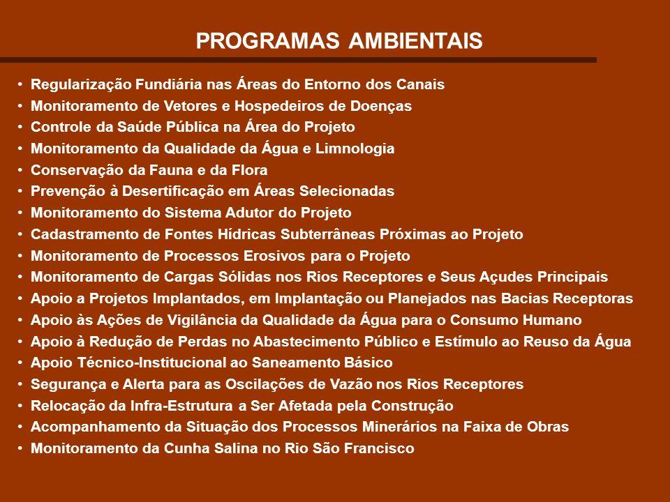 PROGRAMAS AMBIENTAIS Regularização Fundiária nas Áreas do Entorno dos Canais. Monitoramento de Vetores e Hospedeiros de Doenças.
