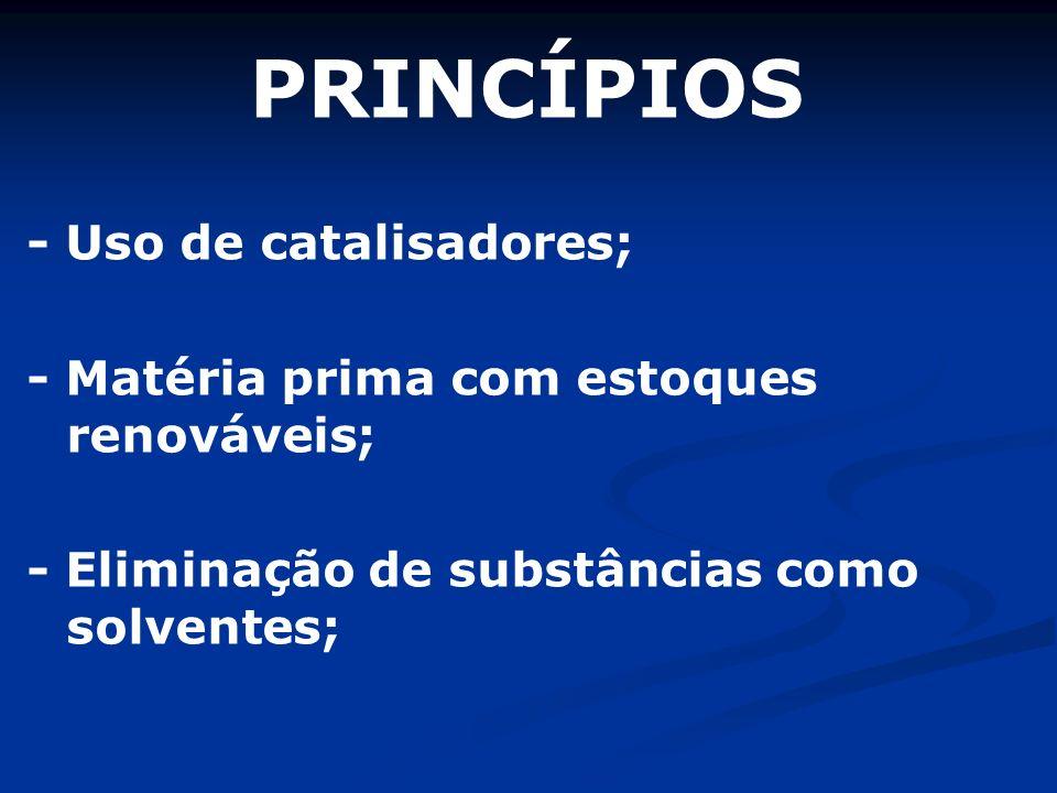 PRINCÍPIOS - Uso de catalisadores;