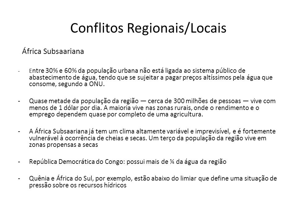 Conflitos Regionais/Locais