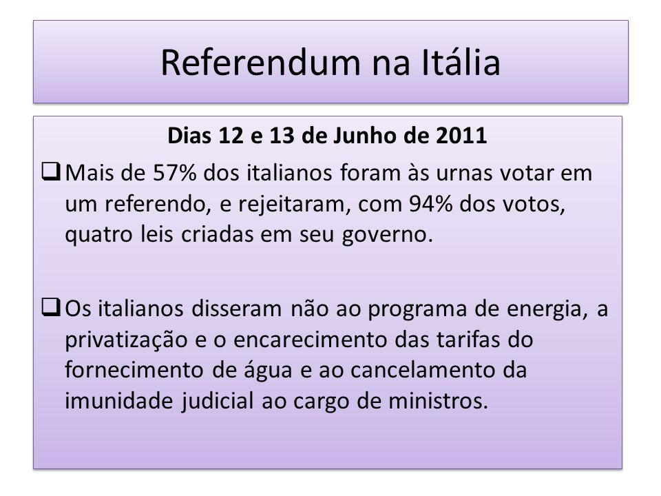 Referendum na Itália Dias 12 e 13 de Junho de 2011