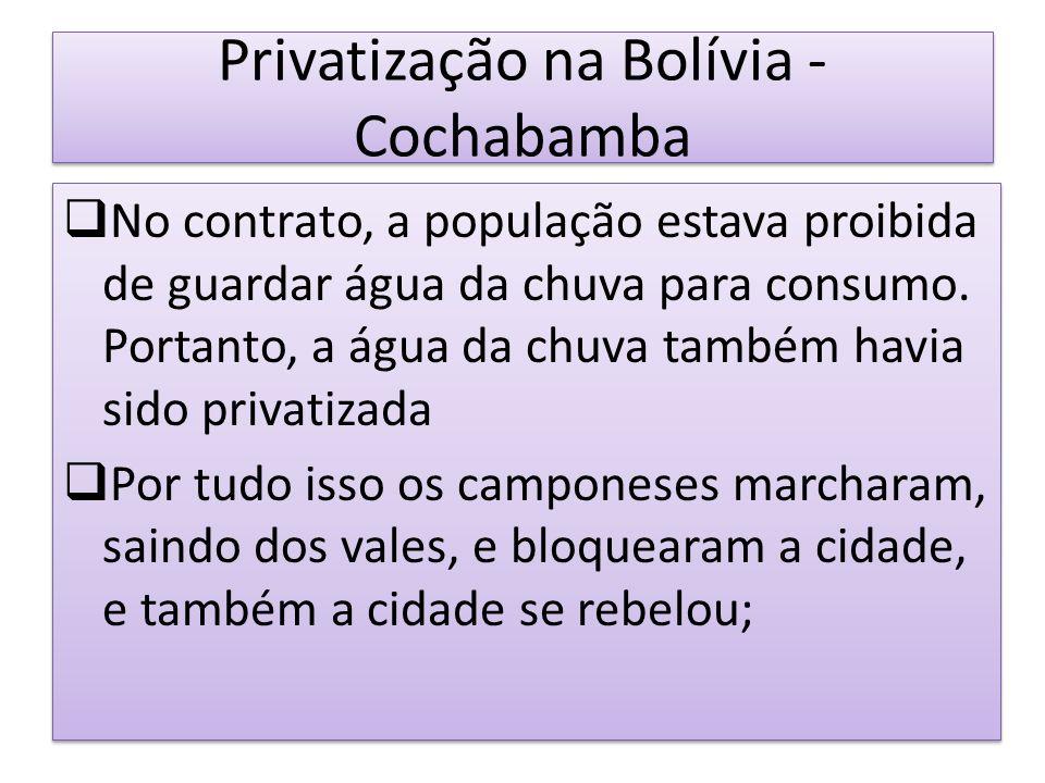Privatização na Bolívia - Cochabamba