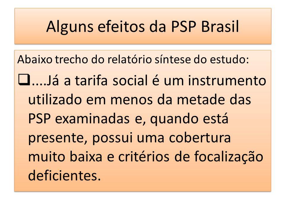 Alguns efeitos da PSP Brasil