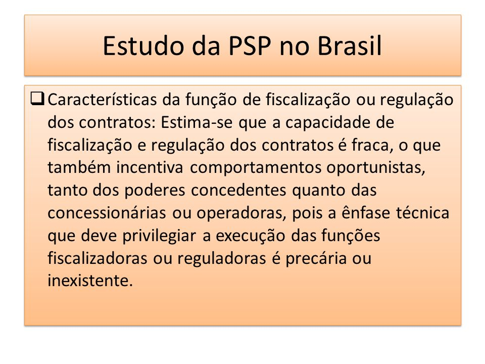 Estudo da PSP no Brasil
