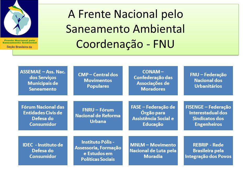 A Frente Nacional pelo Saneamento Ambiental Coordenação - FNU