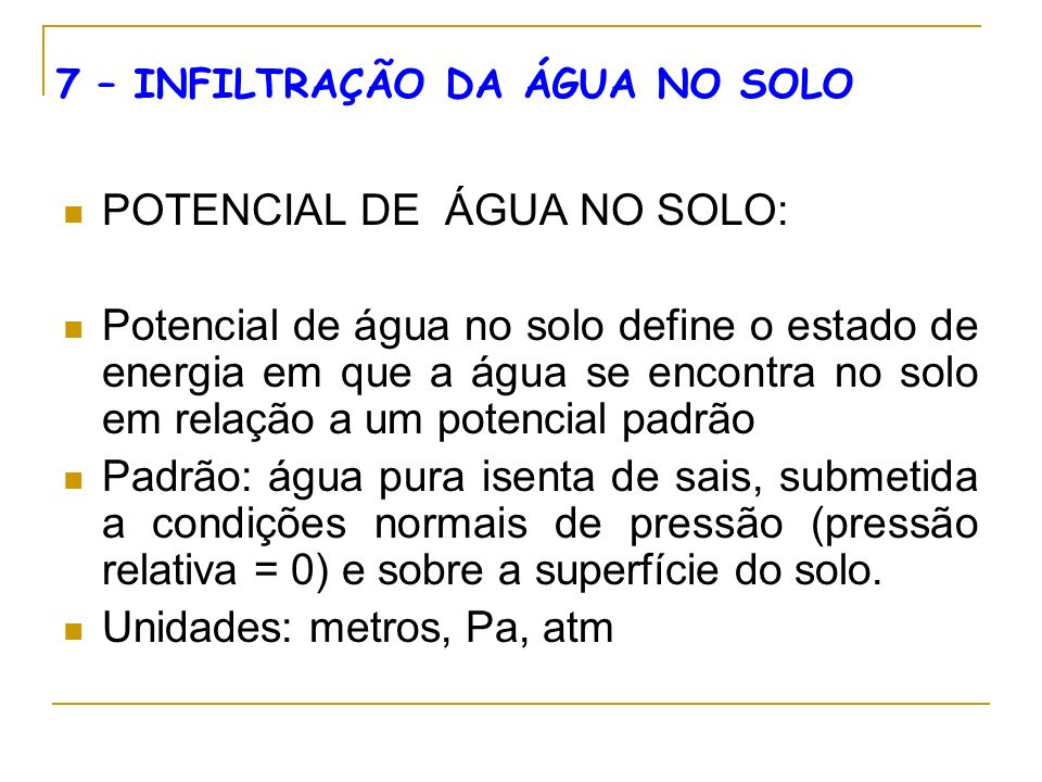 POTENCIAL DE ÁGUA NO SOLO: