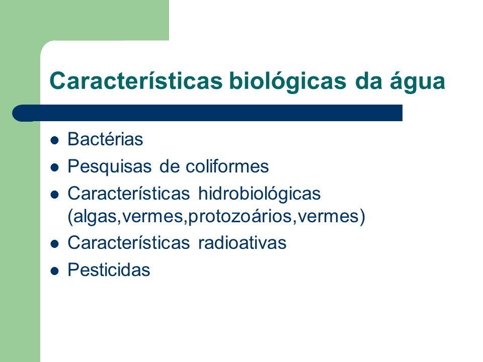 Características biológicas da água