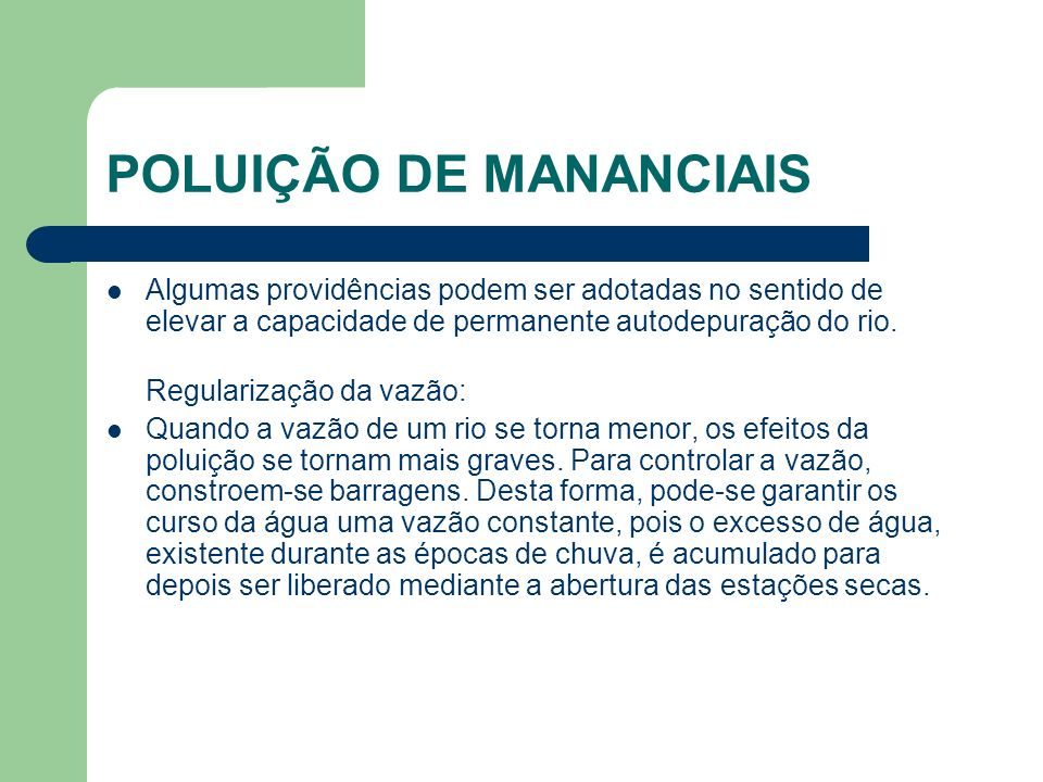 POLUIÇÃO DE MANANCIAIS