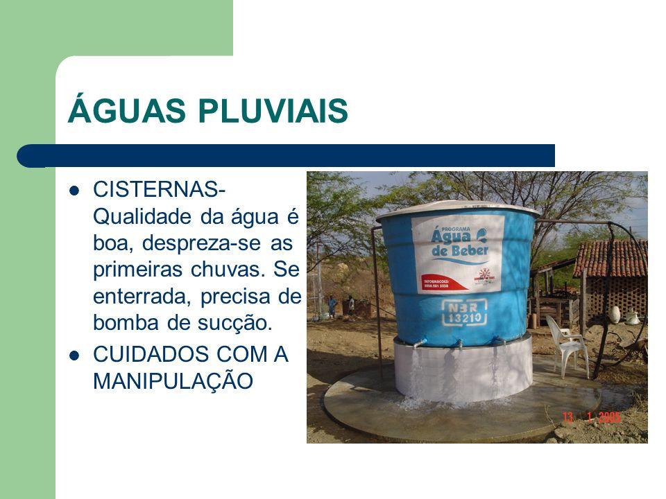 ÁGUAS PLUVIAIS CISTERNAS- Qualidade da água é boa, despreza-se as primeiras chuvas. Se enterrada, precisa de bomba de sucção.