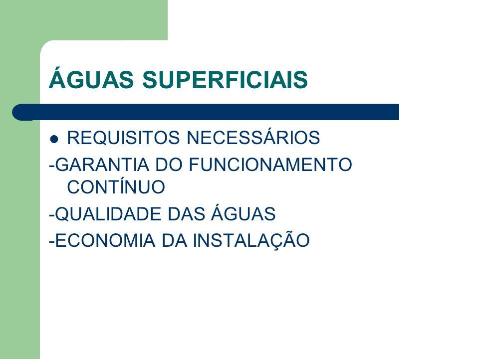 ÁGUAS SUPERFICIAIS REQUISITOS NECESSÁRIOS