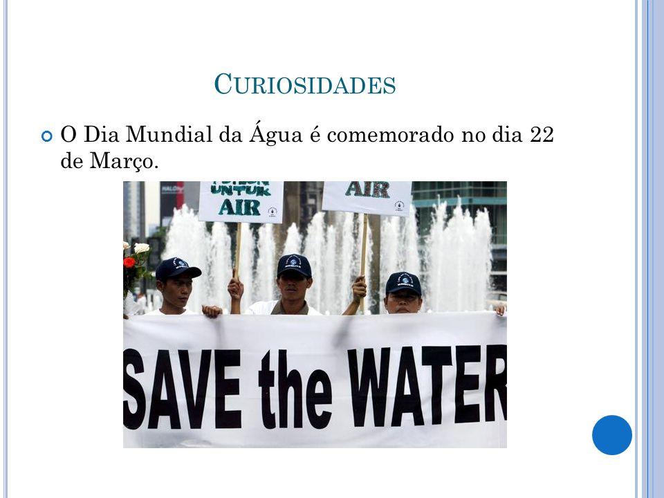 Curiosidades O Dia Mundial da Água é comemorado no dia 22 de Março.
