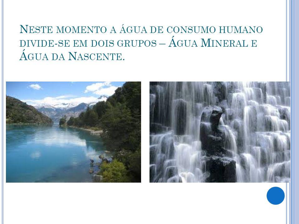 Neste momento a água de consumo humano divide-se em dois grupos – Água Mineral e Água da Nascente.