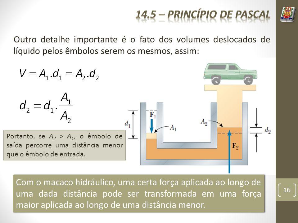 14.5 – Princípio de pascal Outro detalhe importante é o fato dos volumes deslocados de líquido pelos êmbolos serem os mesmos, assim: