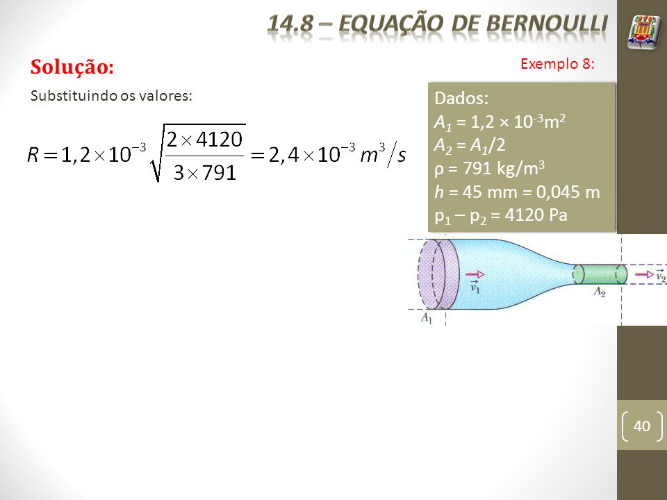 14.8 – equação de bernoulli Solução: Dados: A1 = 1,2 × 10-3m2