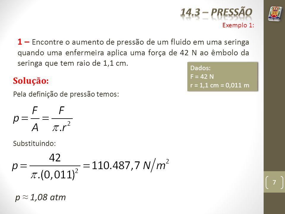 14.3 – pressão Exemplo 1: