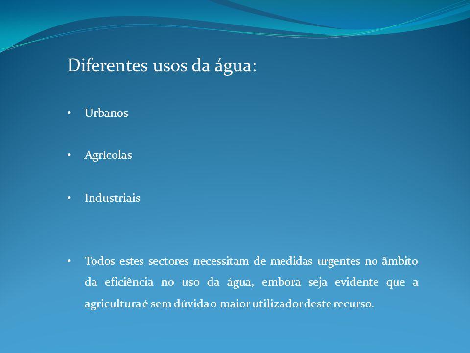 Diferentes usos da água: