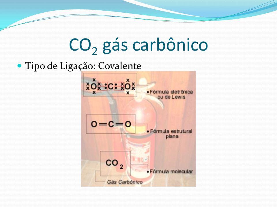 CO2 gás carbônico Tipo de Ligação: Covalente