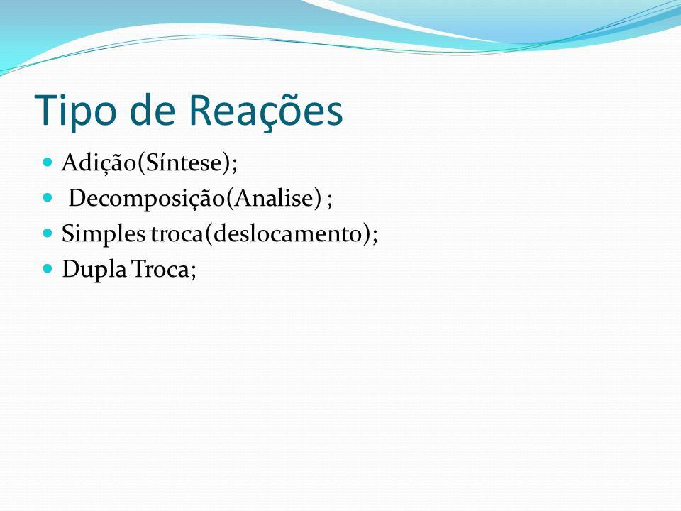 Tipo de Reações Adição(Síntese); Decomposição(Analise) ;
