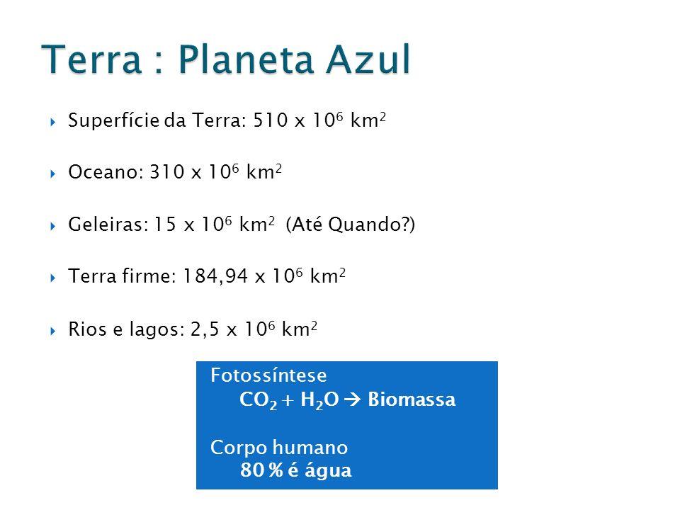 Terra : Planeta Azul Superfície da Terra: 510 x 106 km2