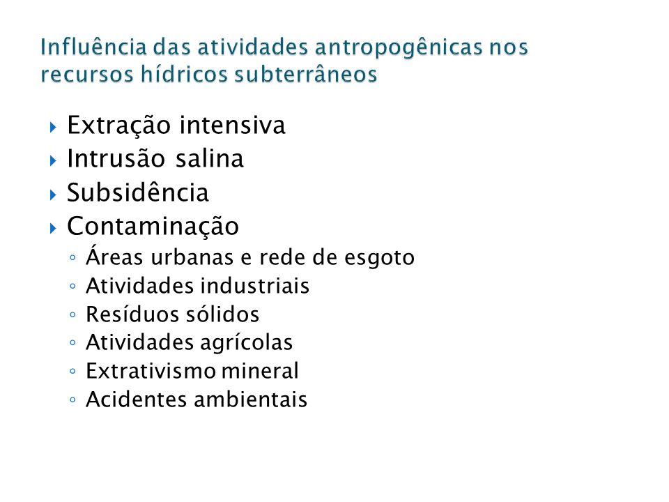 Extração intensiva Intrusão salina Subsidência Contaminação