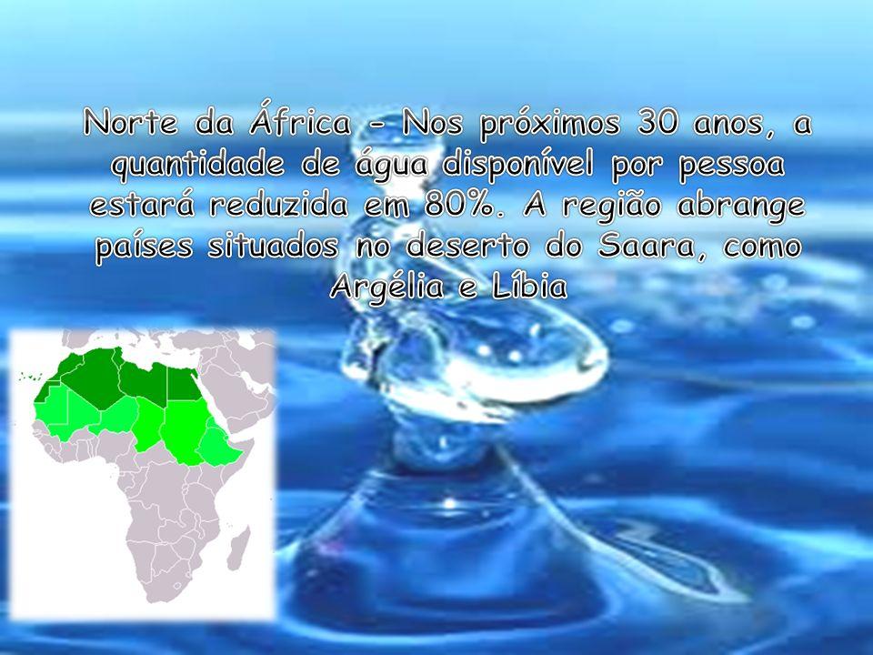 Norte da África - Nos próximos 30 anos, a quantidade de água disponível por pessoa estará reduzida em 80%.