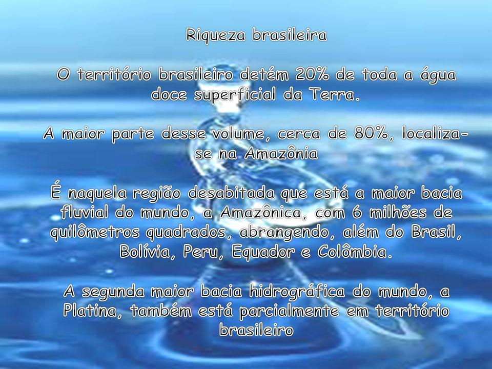 Riqueza brasileira O território brasileiro detém 20% de toda a água doce superficial da Terra.