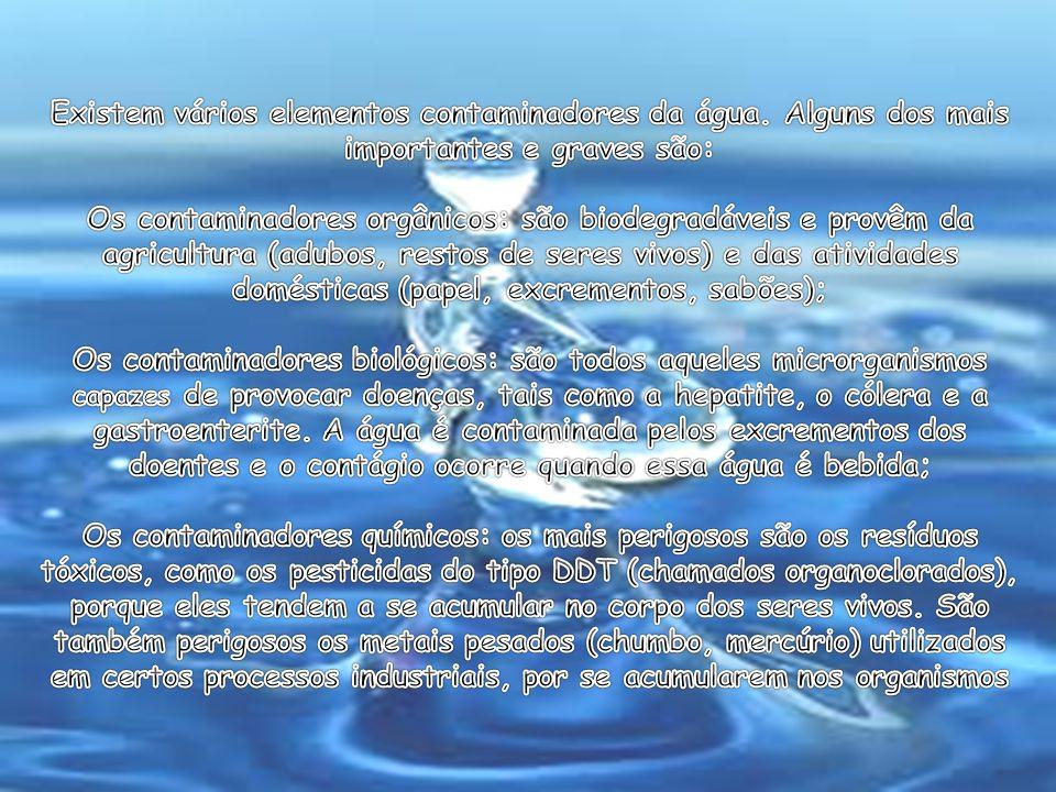 Existem vários elementos contaminadores da água