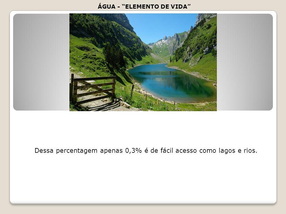 Dessa percentagem apenas 0,3% é de fácil acesso como lagos e rios.