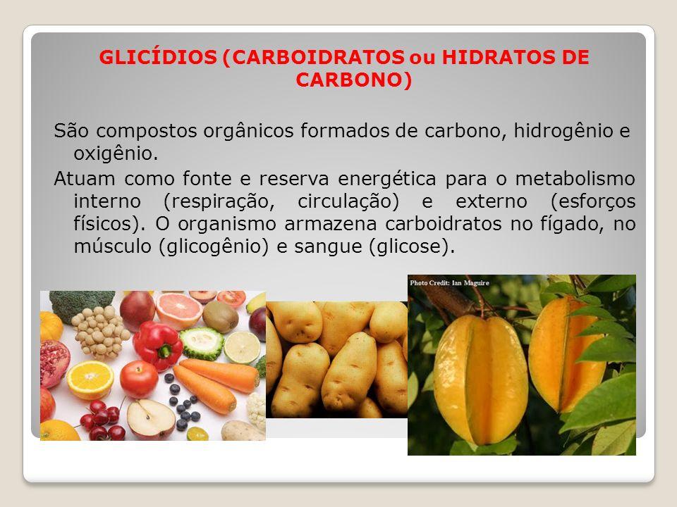 GLICÍDIOS (CARBOIDRATOS ou HIDRATOS DE CARBONO) São compostos orgânicos formados de carbono, hidrogênio e oxigênio.