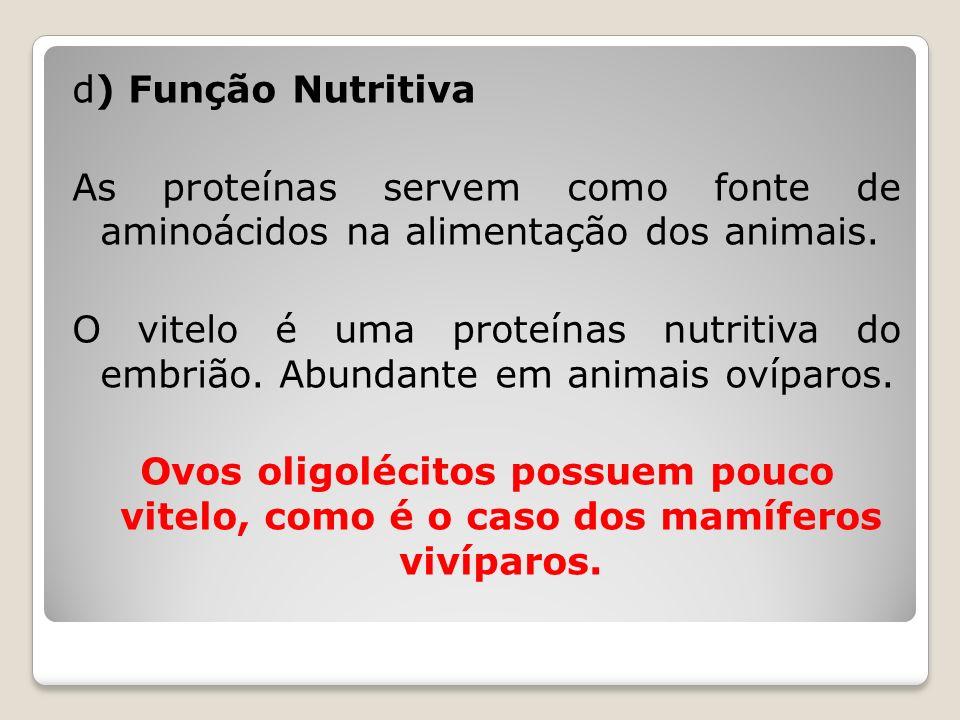 d) Função Nutritiva As proteínas servem como fonte de aminoácidos na alimentação dos animais.