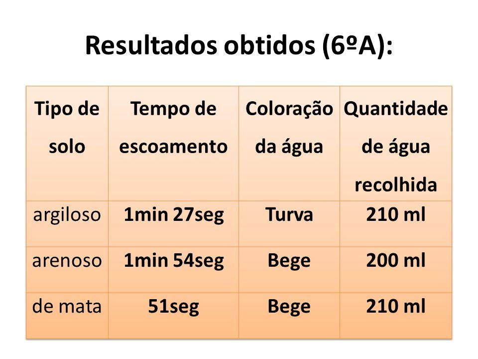 Resultados obtidos (6ºA):
