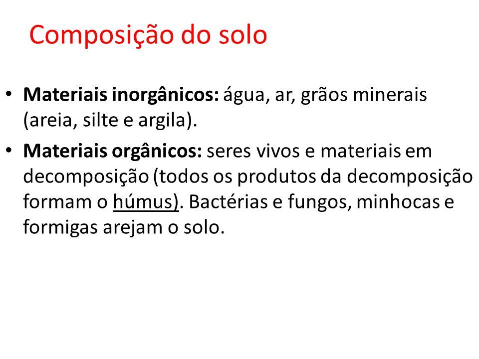 Composição do solo Materiais inorgânicos: água, ar, grãos minerais (areia, silte e argila).