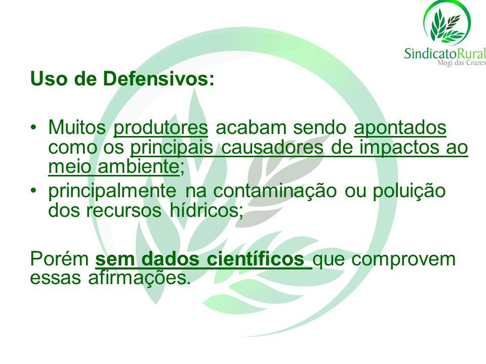 Uso de Defensivos: Muitos produtores acabam sendo apontados como os principais causadores de impactos ao meio ambiente;
