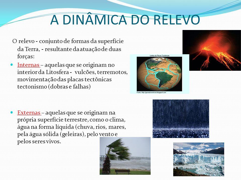 A DINÂMICA DO RELEVO O relevo - conjunto de formas da superfície da Terra, - resultante da atuação de duas forças: