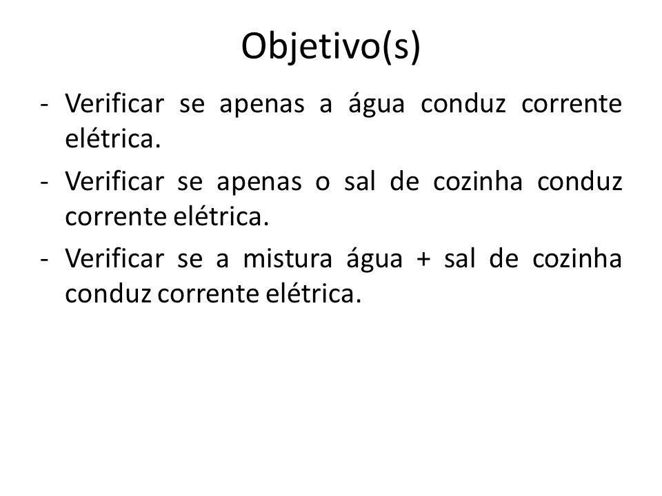 Objetivo(s) Verificar se apenas a água conduz corrente elétrica.