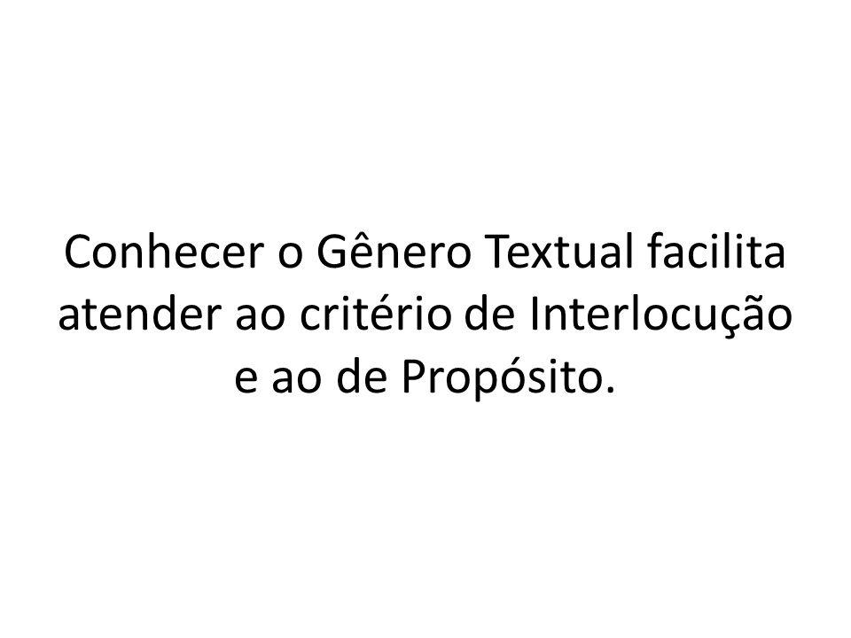 Conhecer o Gênero Textual facilita atender ao critério de Interlocução e ao de Propósito.