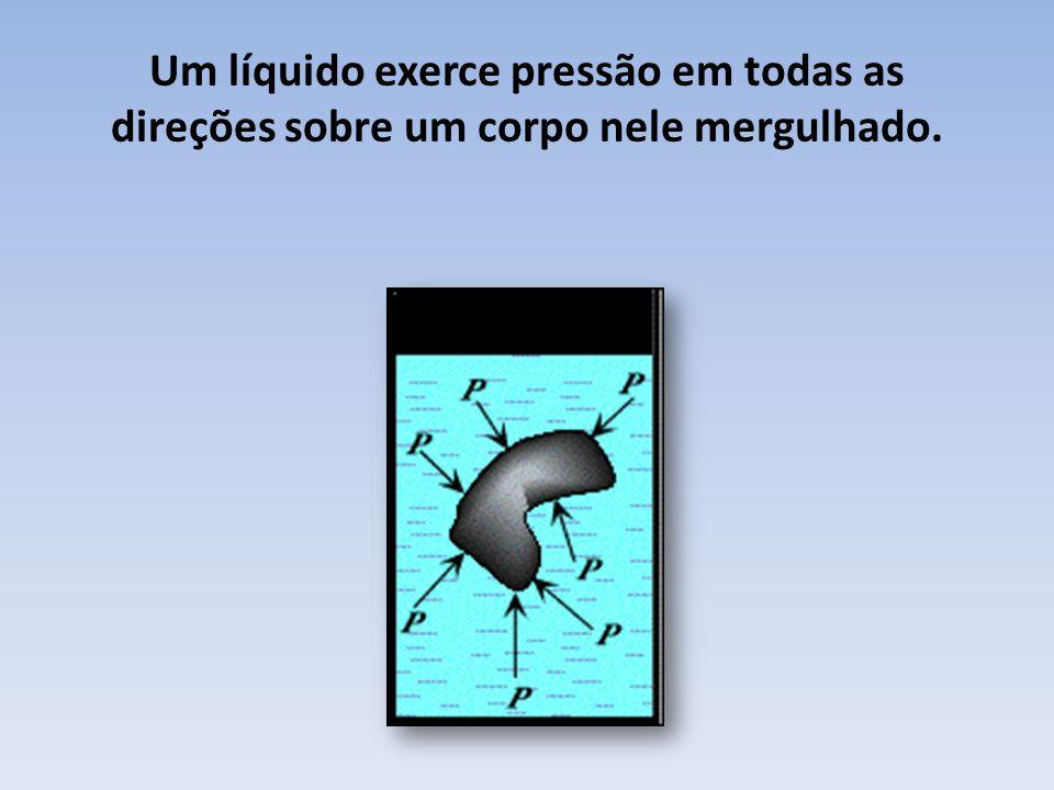 Um líquido exerce pressão em todas as direções sobre um corpo nele mergulhado.