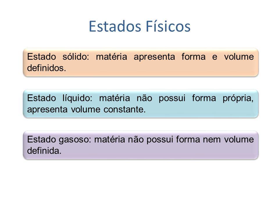 Estados Físicos Estado sólido: matéria apresenta forma e volume definidos.