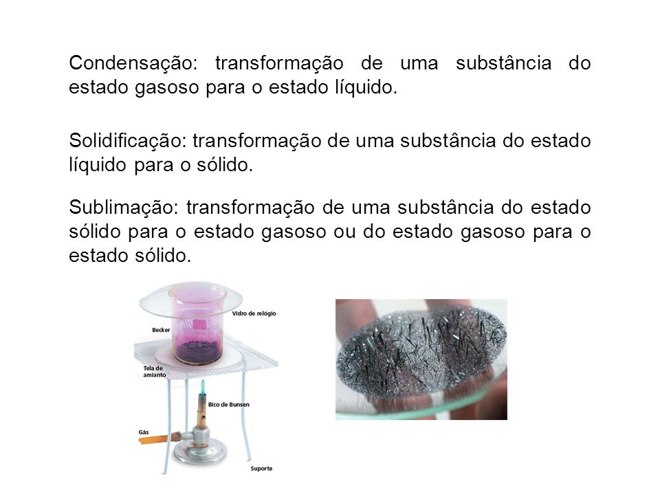 Condensação: transformação de uma substância do estado gasoso para o estado líquido.