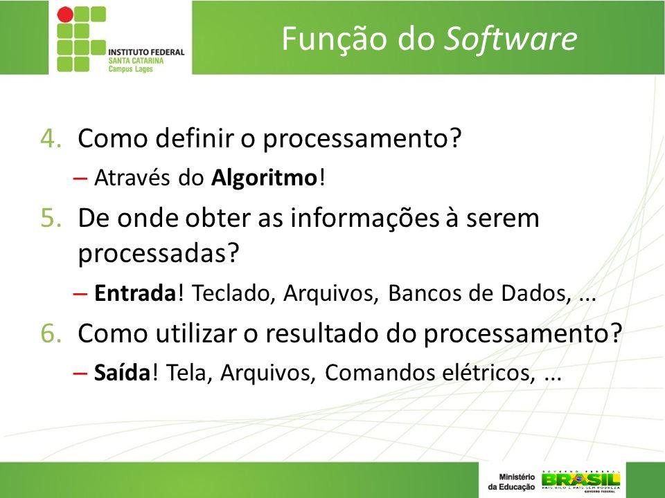 Função do Software Como definir o processamento