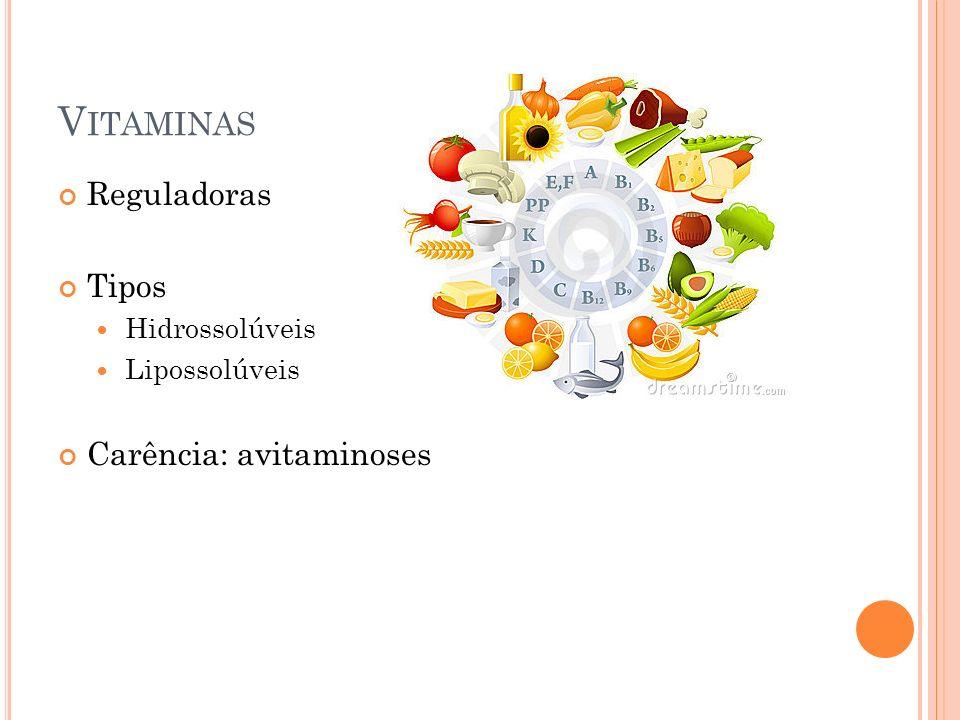 Vitaminas Reguladoras Tipos Carência: avitaminoses Hidrossolúveis